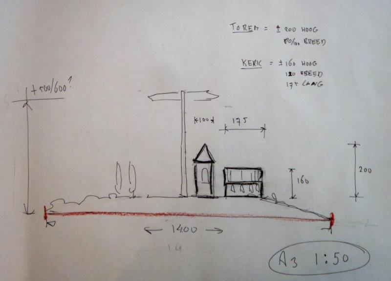 Maten bouwwerk Rotonde Oosterhesselen A3 schaal 1 op 50